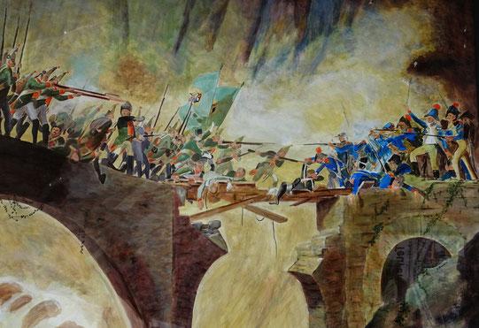 Gemälde des Kampfes der Russen gegen die Franzosen auf der Teufelsbrücke