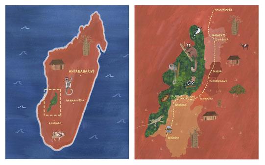 Cartes de Madagascar et du Makay, massif de la taille de la corse dans le Sud-Ouest