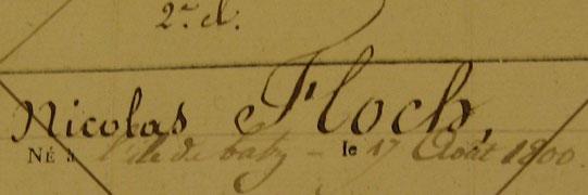 Registre des novices du quartier de Morlaix syndicat de Roscoff de 1816 à 1824, la date de naissance est un faux