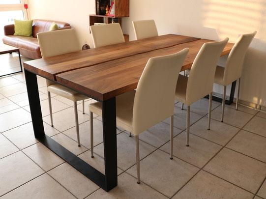Schweizer Nussbaum, Tischplatte, Esstisch, Flachstahl