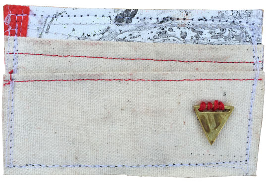skinny wallet 1 - front | made out of scrap canvas and fabric and burlap | SOLD | $30