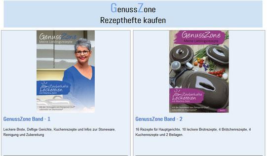 Hier findest du viele Pampered Chef® sowie Thermomix® Rezepte in den Rezeptheften GenussZone Band 1 & 2 von  Martina Ziehl mit Pampered Chef