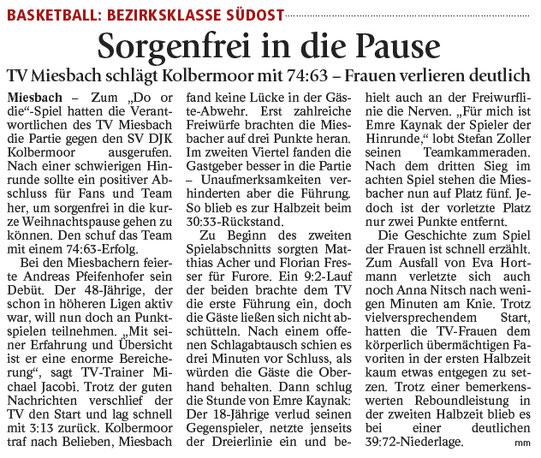 Bericht im Miesbacher Merkur am 19.12.2017 - Zum Vergrößern klicken