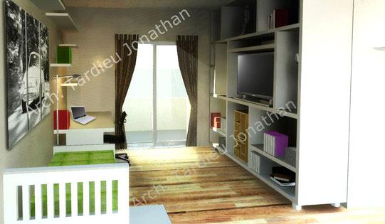 Vista 3d piano primo - camera da letto singola