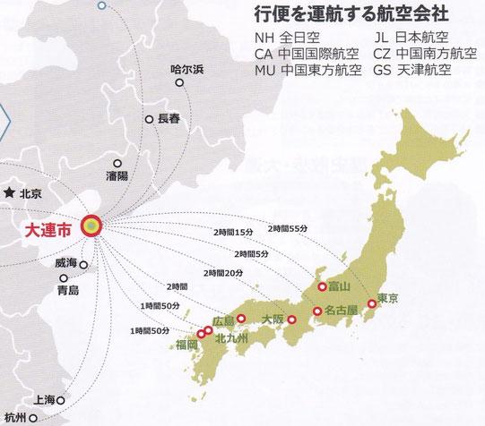 大連ー日本就航路線