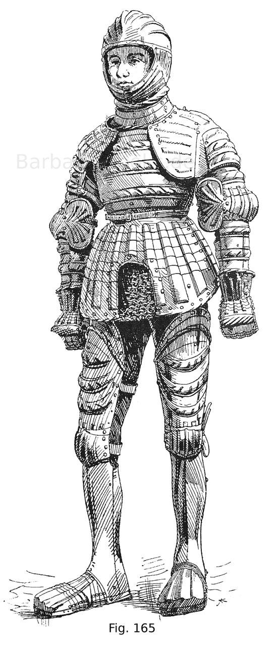 Fig. 165. Ganzer, sogenannter Pfeifenharnisch für einen Knaben, gefertigt für den Prinzen, späteren Kaiser Karl V. von Hans Seusenhofer in Innsbruck 1511 und unbekannter Umstände halber unvollendet geblieben.