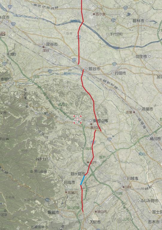 国道407号線 地図と上空写真