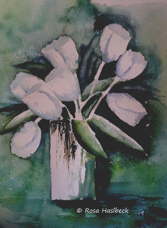 aquarell, tulpenaquarell, blumenaquarell,blumen, weiß, bild, kunst, malen, dekoration, wandbild, handgemalt ,kaufen