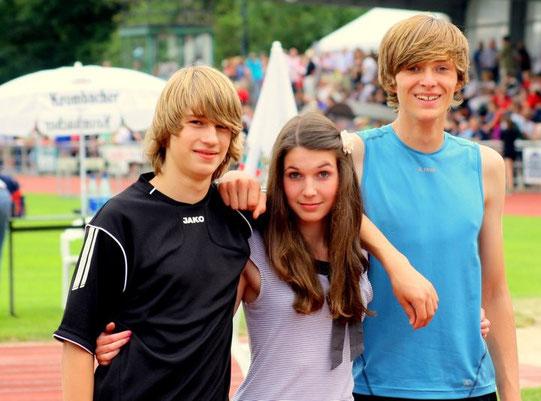 Nordrheinmeisterschaft in Kevelaer, Jana Eck Platz 4 im Dreisprung, Felix Becker, Platz 2 im Weitsprung u. Platz 4 im 100m Sprint und Philipp Eßer, Platz 3 im Dreisprung