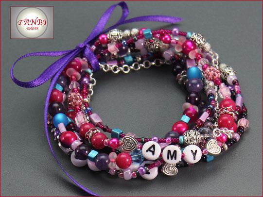 Familienarmband-Mamaarmband-Armband-Mama-Kindernamen-Namensarmband-Namensband-mehrreihig-pink-lila
