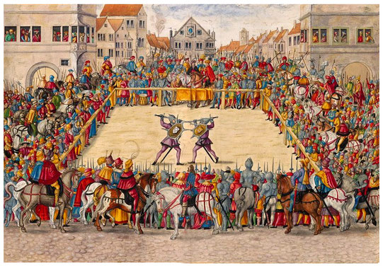 Duel judiciaire entre le maréchal Wilhelm von Dornsberg et Theodor Haschenacker sur le marché du vin d'Augsbourg (1409).