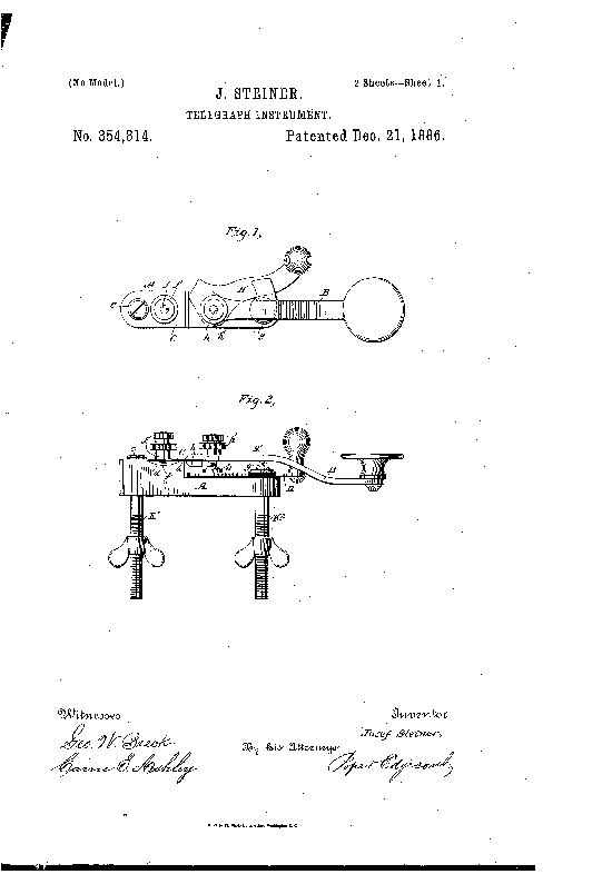 First Steiner key Patent - 1886