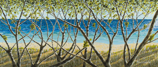 "Acrylic painting of ocean seen through myrtle branches - ""Myrtle View"""