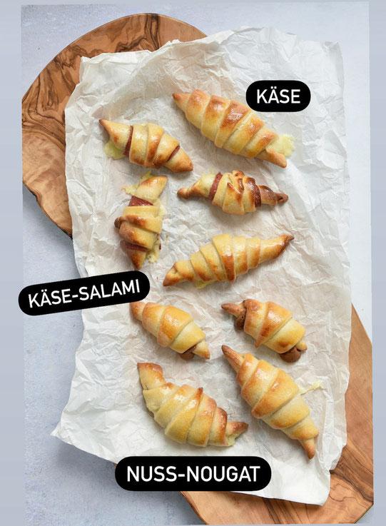 Bakas Kiflice - kleine Hörnchen aus dem Thermomix gefüllt mit Käse Schinken Nutella oder Schokocreme