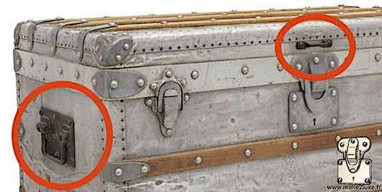malle aluminium poignée laiton non d'origine louis vuitton