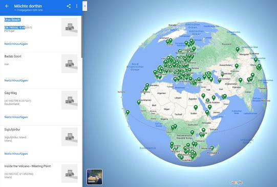 Übersichtskarte und Liste der Google Maps POI's