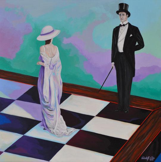 Bildliche Darstellung einer Patt-Situation im Schach. Schwarz kann keinen gültigen Zug mehr machen, ohne sich ins Schach zu begeben.