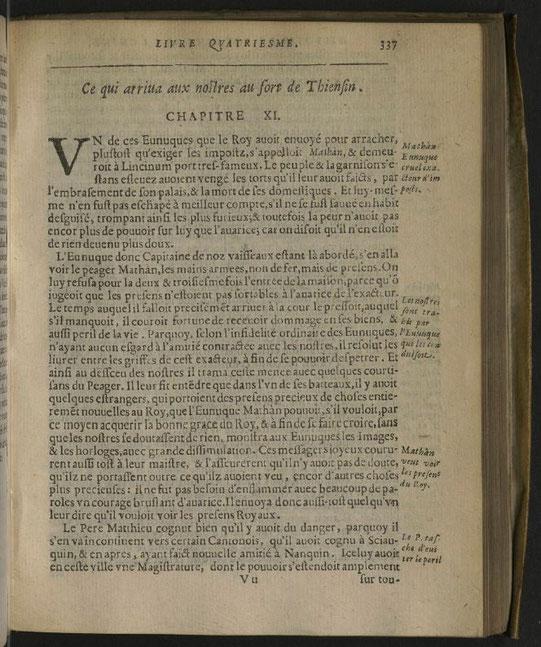 Une page de l'ouvrage. Histoire de l'expédition chrétienne au royaume de la Chine, tirée des mémoires de Matthieu RICCI (1552-1610) par Nicolas TRIGAULT (1577-1628), et traduite par D. F. de Riquebourg-Trigault - Imprimerie de P. de Rache, Lille, 1617.
