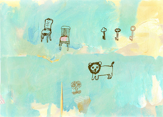 「Three keys」333×242mm キャンバス・アクリル絵具・コラージュ