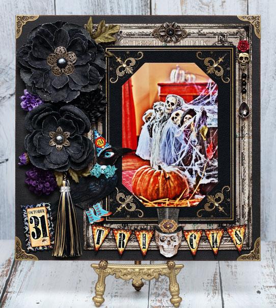 9/25 ジュリアン(三鷹駅前)Masakoセミナー「デニムフラワーハロウィン」12in作品。分厚い板のような台紙でそのまま飾れます。