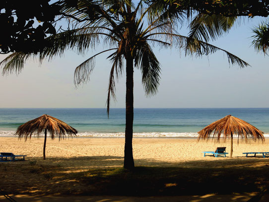 Blick vom Bungalow an den Strand