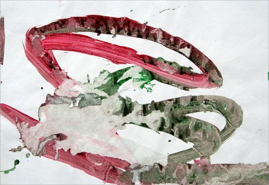 Tilda 0119, 2008, 13 x 45 cm, Fingerfarben auf Papier