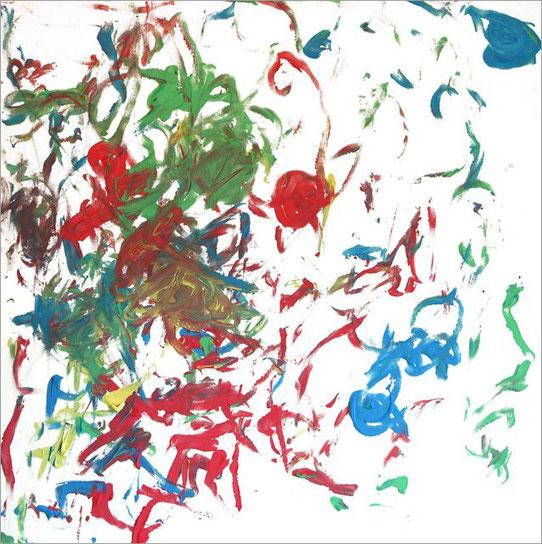 Robert, Homo sapiens, 2,5 Jahre, Fingerfarben auf Leinwand, 2010. Das Bild entstand im Rahmen der affenBRUT-Ausstellung in Biedenkopf.