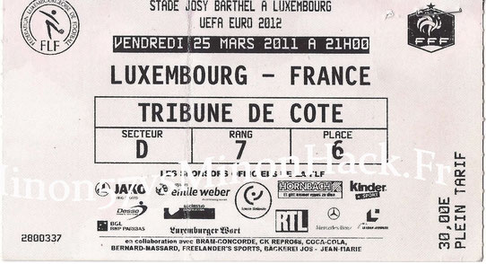 TICKET Luxembourg vs France 2011