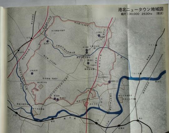 港北ニュータウン地域現況図(基本計画より)