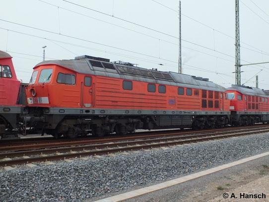 """232 495-2 ist eine von 5 """"Ludmillas"""" die am 31. März 2014 von Saalfeld (Saale) ins AW Chemnitz überführt wurden. Hier steht die Fuhre in Chemnitz Hbf."""