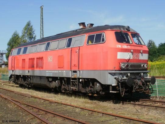 218 430-7 der Erzgebirgsbahn war am 21. August 2010 beim 20. Heizhausfest im SEM Chemnitz anzutreffen