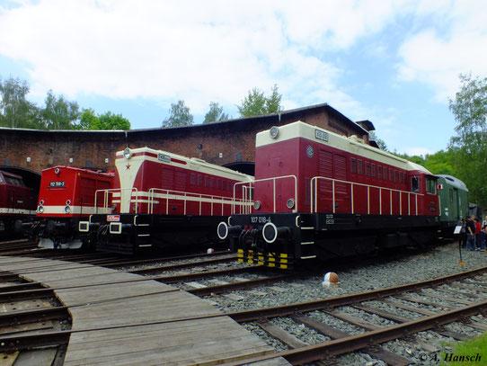 Am 19. Mai 2012 waren gleich zwei Lokomotiven der BR V75 im Bw Schwarzenberg zu Gast