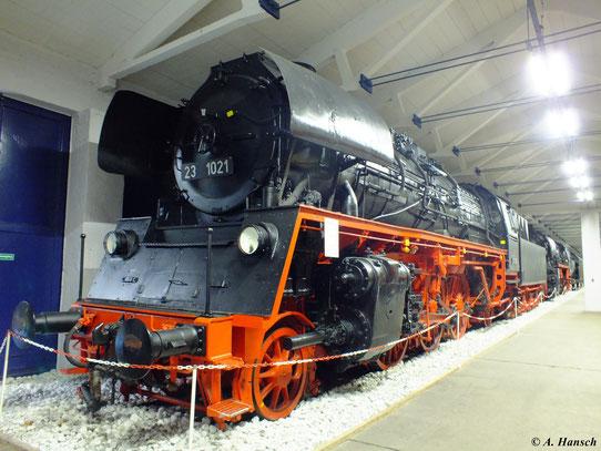 Eine weitere BR 23 (ab 1970 BR 35) steht im Verkehrsmuseum Prora: 23 1021, hier am 6. August 2012