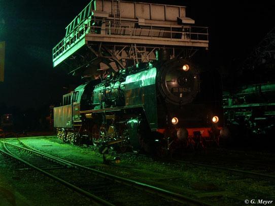 50 1849-4 stand am 19. August 2011 zur Nachtfotoschau im SEM Chemnitz