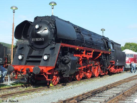 Einige Loks der Baureihe 01.5 wurden mit kegelförmiger Rauchkammertür ausgestattet, wie auf diesem Bild 01 1531-1 am 1. September 2012 im Werk Meiningen