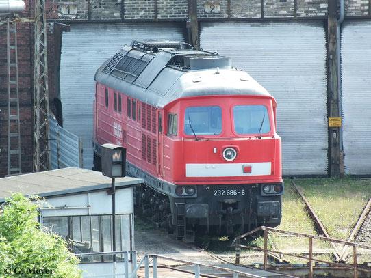 Bei einem Besuch in Halle P konnte ein Schnappschuss auf 232 686-6 gemacht werden (06. Juli 2013)