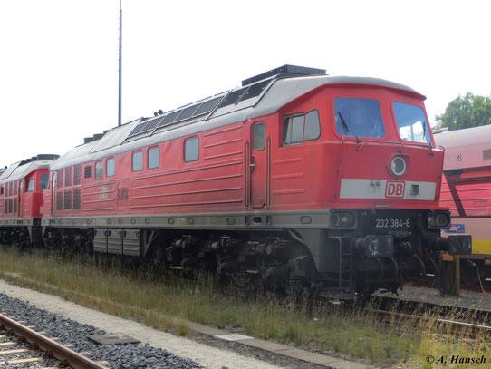 232 384-8 steht mit 232 569-4 im Bf. Marktredwitz und wartet auf neue Aufgaben (8. Juni 2013)