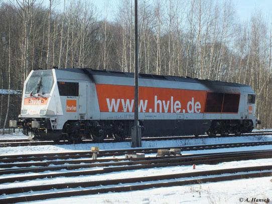 264 004-3 (V490.1 der Havelländischen Eisenbahn AG) stand bei bestem Winterwetter in Chemnitz Küchwald (12. Februar 2012)