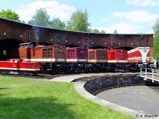 Ein tolles Bild bietet sich mir am 19. Mai 2012 im Bw Schwarzenberg: von links: 112 516-0, 112 646-5, 110 025-4, 112 708-3, T435 0554. Ganz links steht ein Nachbau der 110 259-9