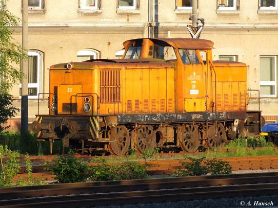 """Die mit """"Zwickau 20 - Steinkoks 14"""" beschriftete V60D steht schon eine Weile im AW Chemnitz (5. Juni 2013)"""