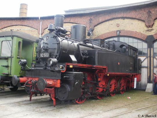 92 503 am 2. April 2011 zum 3. Dresdner Dampfloktreffen im Bw Dresden Altstadt