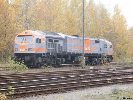 V330.4 (250 004-9) der Havelländischen Eisenbahn AG steht am 30. Oktober 2011 im Güterbahnhof am Küchwald in Chemnitz
