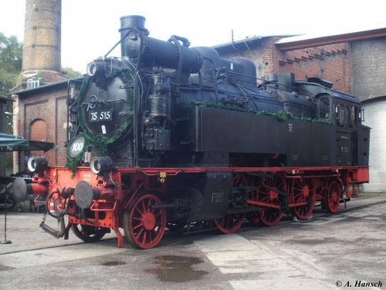 Im Jahr 2011 feierte 75 515 ihren 100. Geburtstag. Festlich geschmückt steht sie am 20. August im SEM Chemnitz