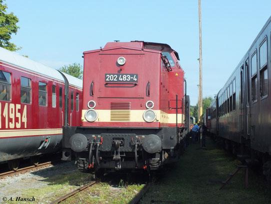 Am 1. September 2012 fanden im RAW Meiningen die XVIII. Meininger Dampfloktage statt. Auch 202 483-4 ist zu Gast