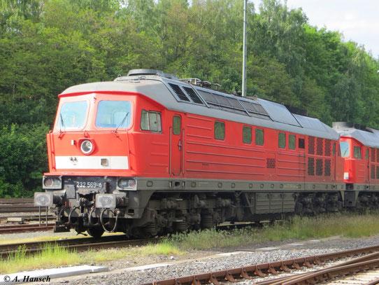Gemeinsam mit 232 384-8 steht 232 569-4 am 8. Juni 2013 im Bf. Marktredwitz