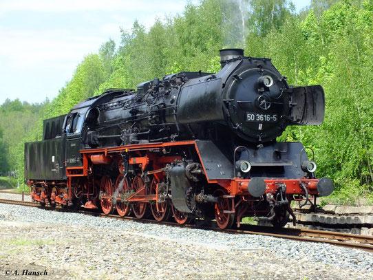 50 3616-5 am 19. Mai 2012 im Heimat-Bw Schwarzenberg