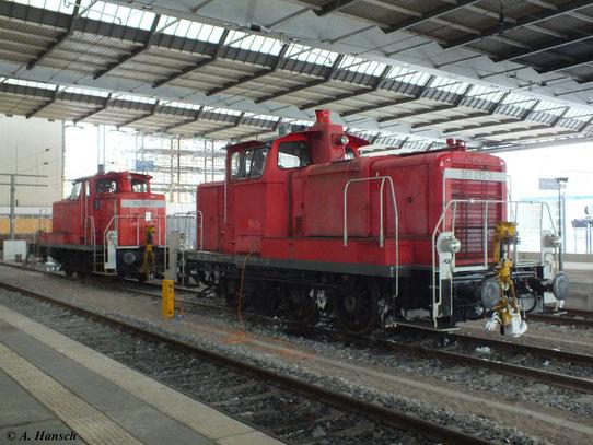 Am 12. Januar 2013 steht 363 235-3 im Chemnitzer Hbf. Dahinter ist 362 538-1 zu sehen.