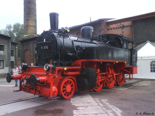 Am 22. August 2009 ist 91 896 im Eingangsbereich des SEM Chemnitz ausgestellt. Die preußischen Loks der GattungT 9.3 fanden sowohl im Personen, als auch im Güterzugdienst Verwendung