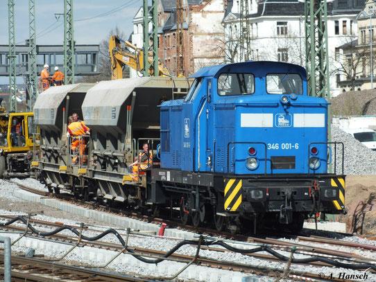 Die Eisenbahn-Bau- und Betriebsgesellschaft Pressnitztalbahn mbH (PRESS) besitzt einige Loks der BR V60D. Am 23. April 2012 konnte ich 346 001-6 (345 207-5) in Chemnitz Hbf. beobachten