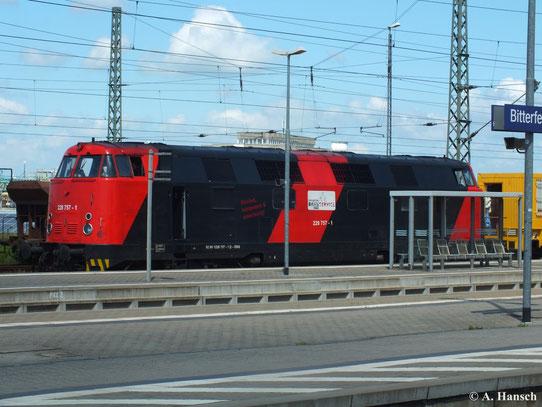 Im Bf. Bitterfeld konnte ich 228 757-1 mit einem Bauzug fotografieren. Die Farbgebung der Erfurter Bahnservice GmbH verleiht der Lok ein völlig neues Aussehen (22. Juni 2013)